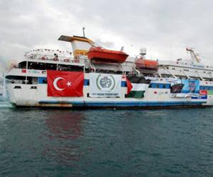 La flotilla internacional humanitaria que se dirigía a Gaza y fue asaltada criminalmente por fuerzas israelíes en aguas internacionales