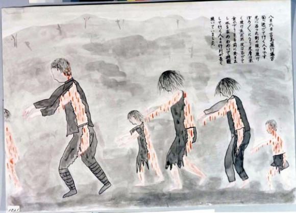 Ikegame Haruo-20-A varios kilómetros de la explosión, gente deambulando con el cuerpo quemado y la piel colgando