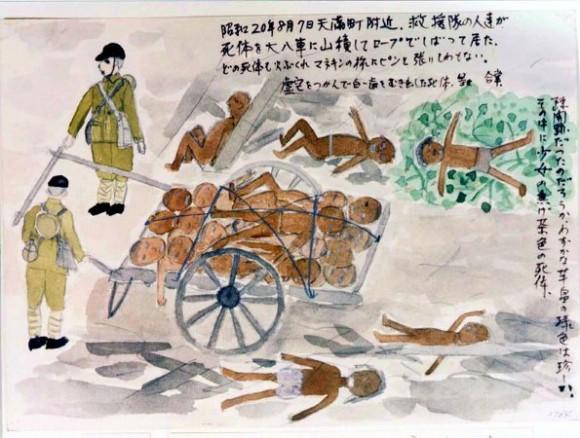 Ishikawa Fumie-16-Soldados cargando en carretas los cadáveres que colapsaban los caminos