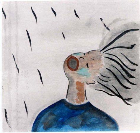 Akiko Takakura-19-Una mujer sedienta abre la boca para intentar atrapar algunas gotas de la lluvia negra