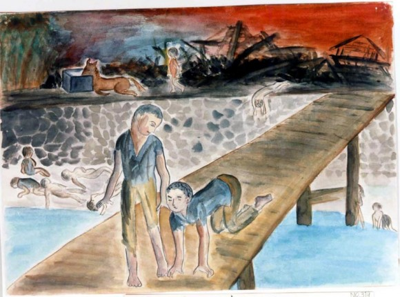 Takahashi Akihiro-14-El autor corriendo por un puente con un amigo, segundos después el cuerpo del amigo se inflamó y acabó envuelto en llamas