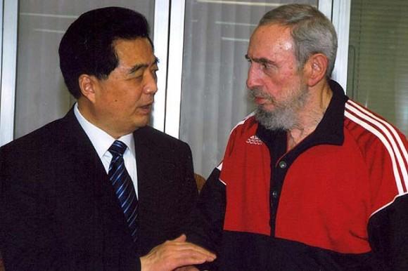 Fidel y Hu Jintao durante la visita del Presidente chino a Cuba en noviembre de 2008