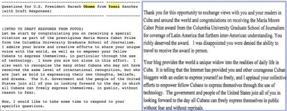 Pruespuesta de respuestas y cómo se publicó finalmente la supuesta entrevista de Obama, que ahora sabemos que él no contestó.