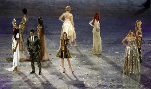 Las modelos británicas en la Ceremonia de cierre de los  JJOO Londres 2012