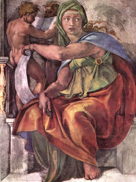 La Sibila de Delfos, de Miguel Ángel, en la bóveda de la Capilla.