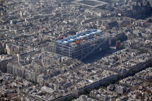 An aerial view shows the Centre Pompidou modern art museum, also known as Beaubourg, in Paris