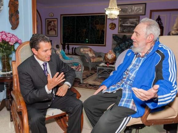 Fidel Castro y Enrique Peña Nieto se reunieron en La Habana, el 29 de enero de 2014. Foto: Alex Castro
