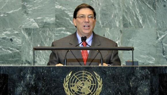 El Canciller cubano Bruno Rodríguez Parrilla en la ONU.