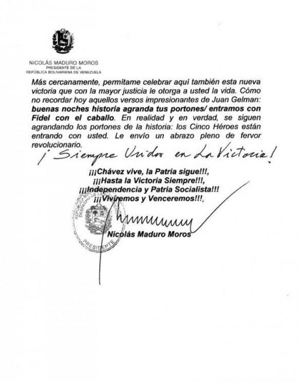 Cartas de Maduro a Fidel y Raúl2