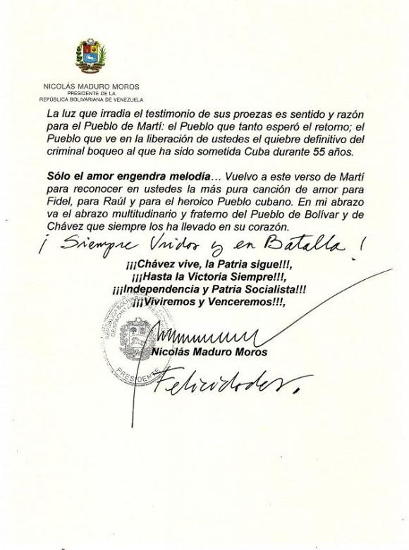 carta Maduro a los 5Héroes pag 2