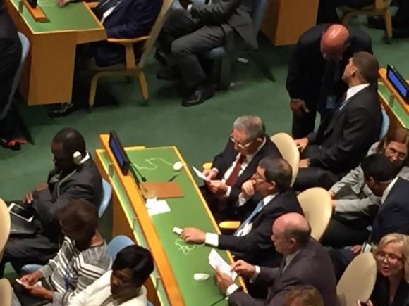 El Presidente cubano Raúl Castro Ruz en el plenario de la ONU durante la intervención del Papa Francisco en Naciones Unidas, 25 de septiembre de 2015.