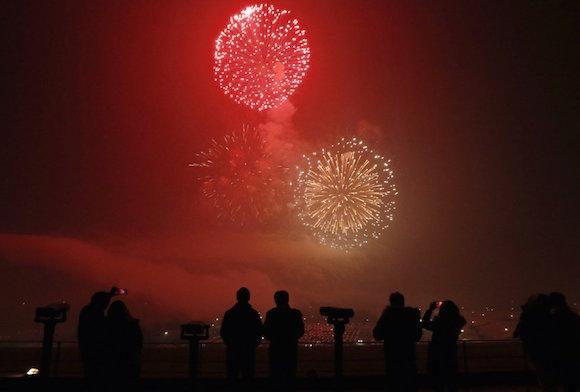 Fuegos artificiales en Corea del Sur. Foto: AP