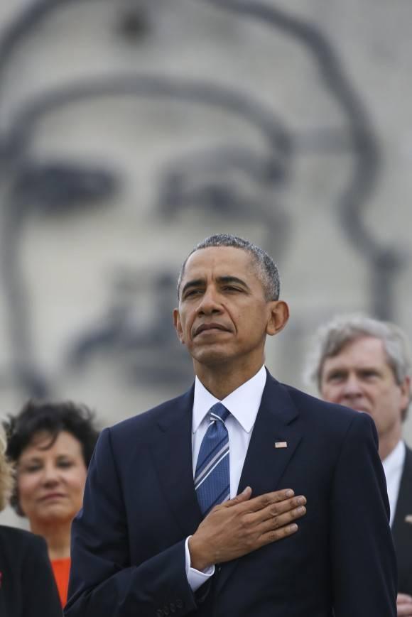 Obama en la Plaza de la Revolución. Al fondo en la foto la figura del Che Guevara, el guerrillero argentino-cubano asesinado en Bolivia bajo órdenes de la CIA.  Foto: Dennis Rivera/ Rivera