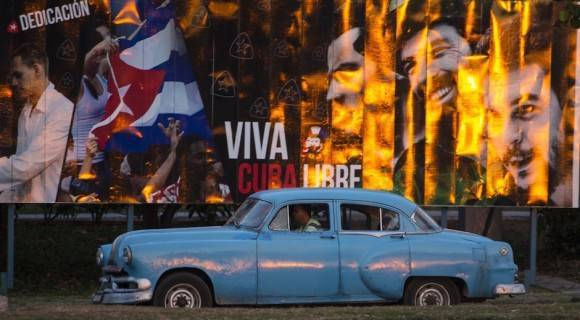 """""""Viva Cuba Libre"""", en en una calle de La Habana, este 22 de marzo de 2016. Foto: Desmond Boylan/ AP"""