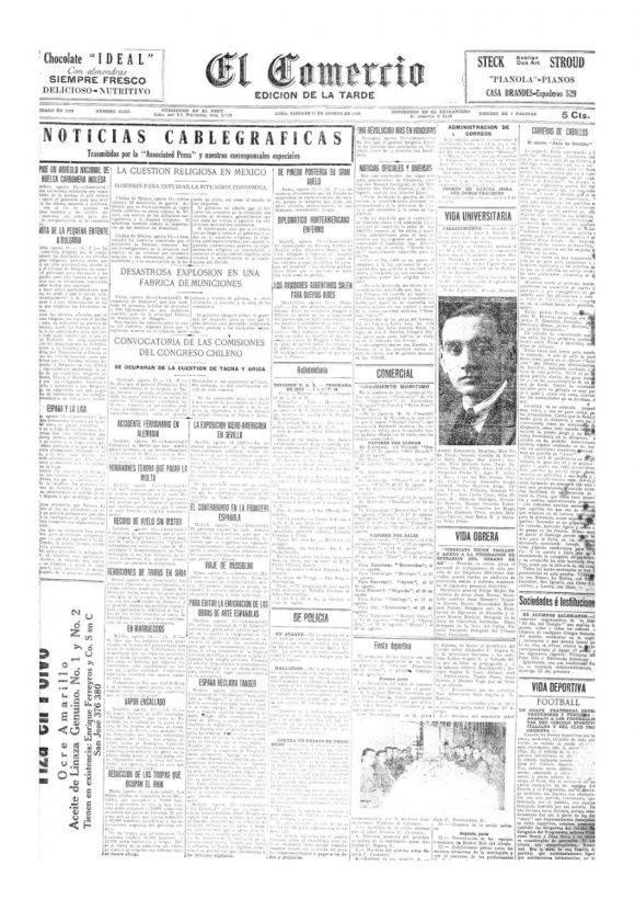 Portada de El Comercio del 13 de agosto de 1926