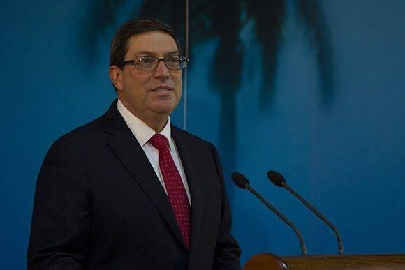 Bruno Rodríguez presenta informe sobre el bloqueo contra Cuba en la sede del Ministerio de Relaciones Exteriores. Foto: Ladyrene Pérez/ Cubadebate.
