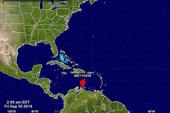 Ubicación del huracán Matthew a la medianoche de este viernes. Foto tomada de PL.