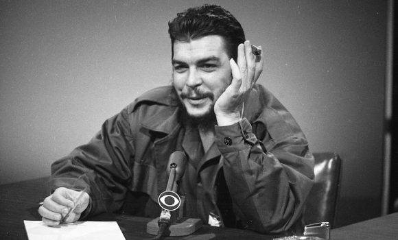 "Cuba's Ernesto ""Che"" Guevara makes an appearance on ""Face the Nation"" at CBS-TV studios in New York City, Dec. 13, 1964. Guevara makes a plea for better relations between Cuba and the United States. (AP Photo)"