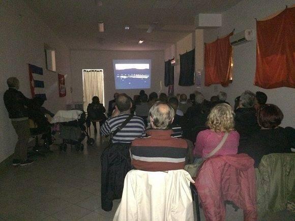 Presentación en Roma del documental Todo Guantánamo es nuestro. Foto: Asociación Nacional de Amistad Italia-Cuba.