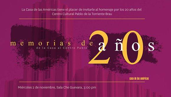 Invitación a homenaje por los 20 años del Centro Cultural Pablo de la Torriente Brau