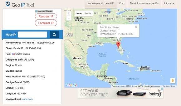 Según el sitio Geo IP Tool, Cuba.com está en un servidor de Tampa, Florida.