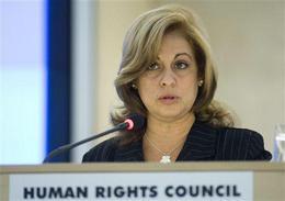 María Esther Reus, ministra de Justicia, durante el examen de Cuba en el Consejo de Derechos Humanos, en Ginebra, el 3 de marzo de 2009. (AP)