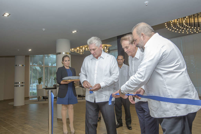 Gabriel Escarrer, president of Melia opens a new hotel in the Cuban resort of Varedero with Cuban President Miguel Diaz Canel