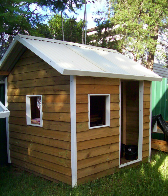 cubby house 1.8m x 1.8m, three window openings, painted trim $960