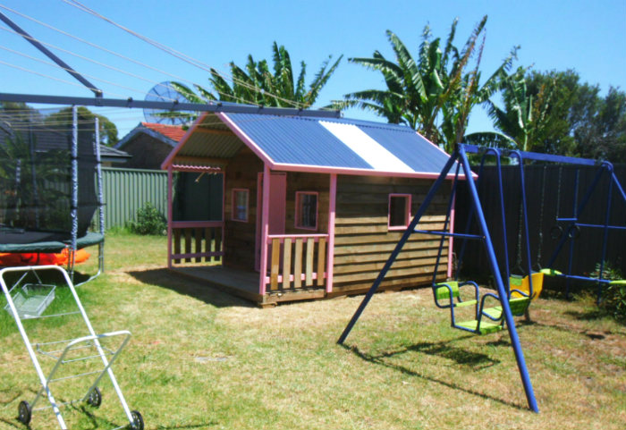 cubby house 3.4m x 2.4m with deck, x3 perspex windows, ply door, painted trim $2025