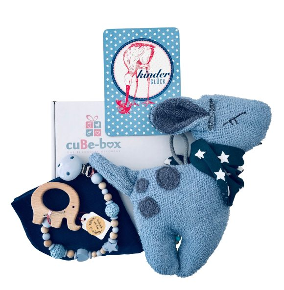 Babybox Boy Bambispieluhr Elefantenbeisskette blau scaled