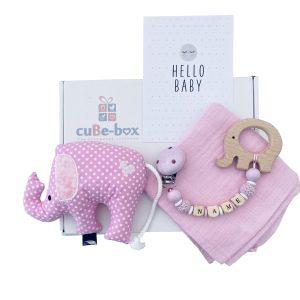 babygeschenk elefantenrassel in rosa