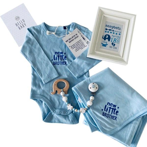 cuBe-box Babygeschenke Geschenkset Babybody blau