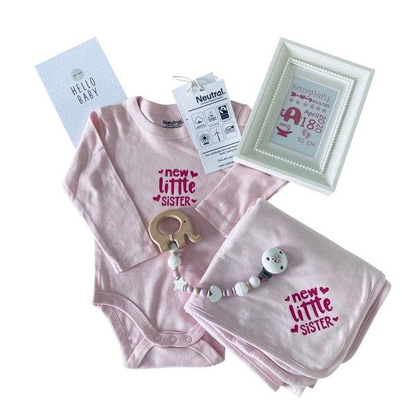 cuBe-box Babygeschenke Geschenkset rosa nuscheli body