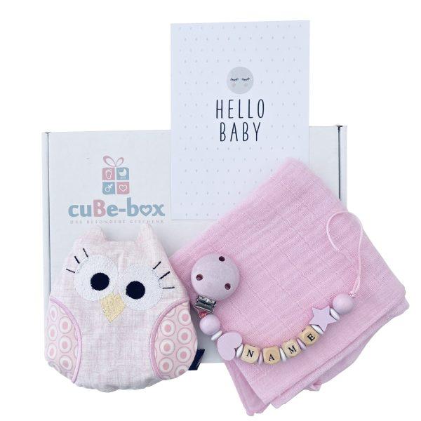 baby geschenk box eulenwaermekissen maedchen rosa