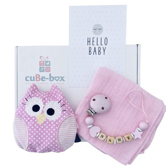 baby geschenk maedchen eulentraubenkissen hellrosa punkte