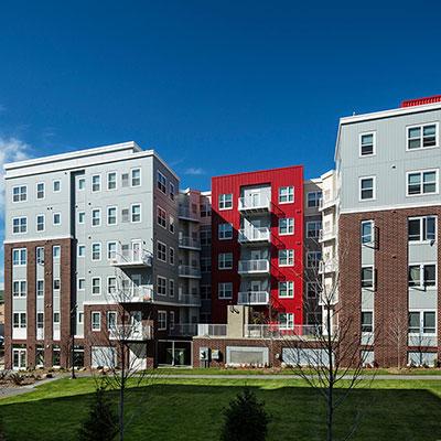 Metro Park East student housing courtyard in Minneapolis MN