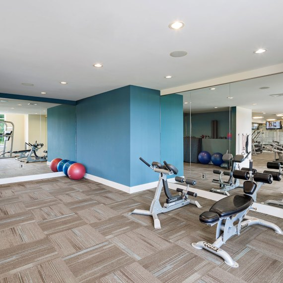 atMark Fitness Room stretching area in Cambridge MA