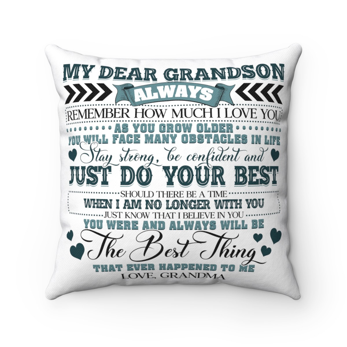 my dear grandson always remember how much i love you throw pillow decorative pillow indoor outdoor cushion