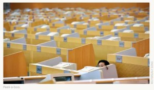 Cubicles all over an office space