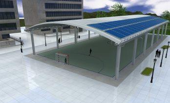 cubierta autoportante con paneles fotovoltaivos