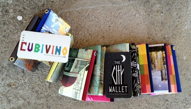 City Wallets folded from old Cavallini calendars
