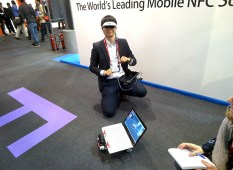 Rover at Mobile World Congress made a friend with cool glasses.