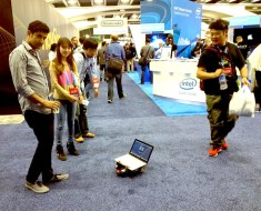 Rover goes for a roll around the Intel booth...
