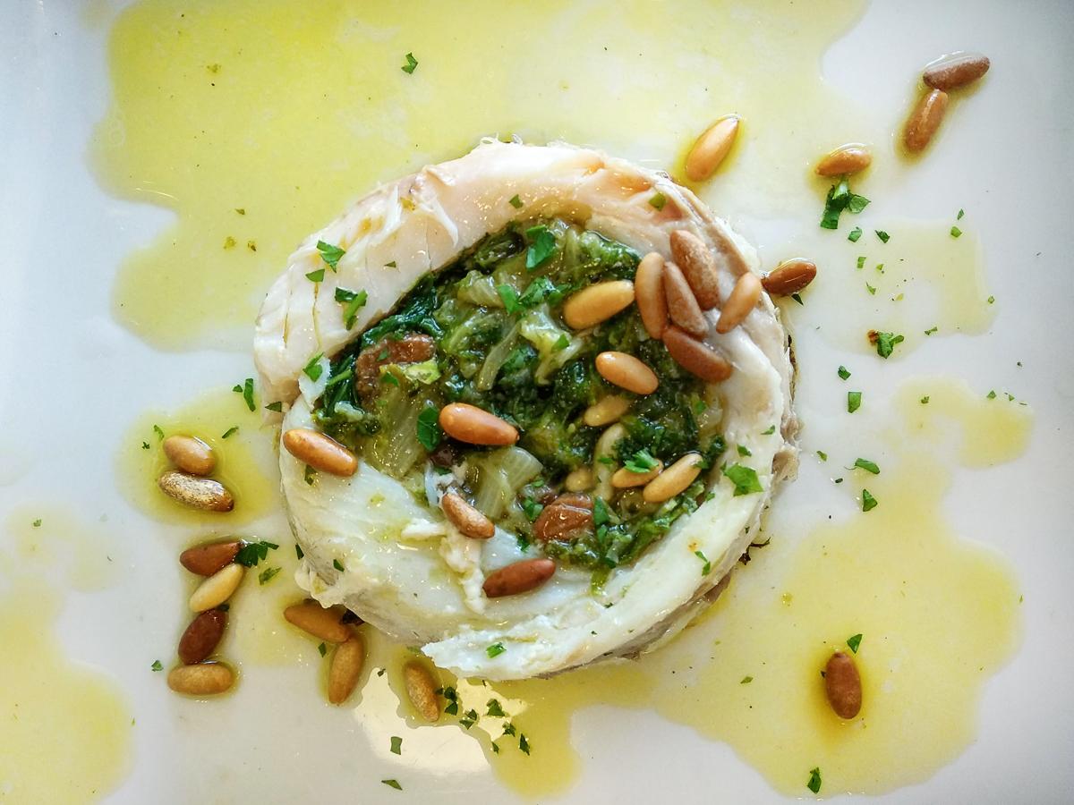 sea bream flan with escarole and taggiasca olives