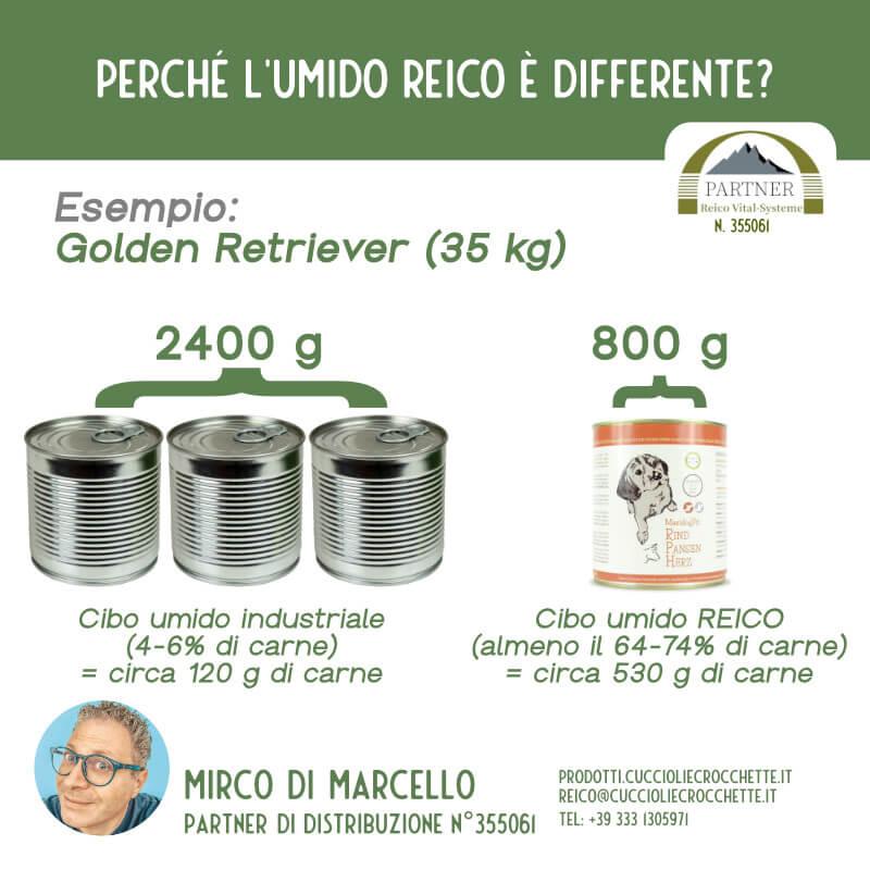 Differenza carne tra cibo umido per cani industriale e cibo umido Reico