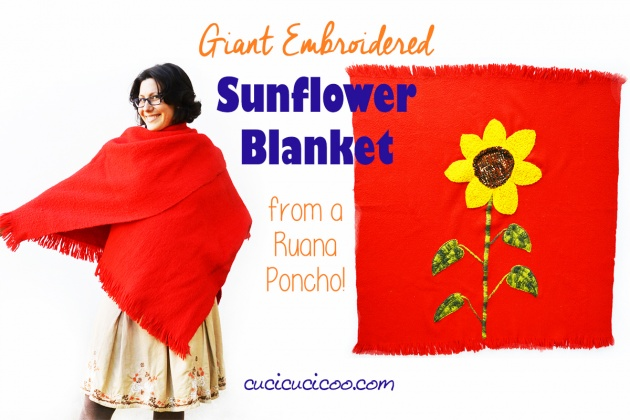 Tutorial: Embroidered blanket from a repurposed poncho