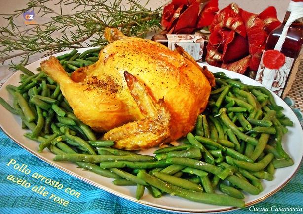 Pollo arrosto con aceto alle rose