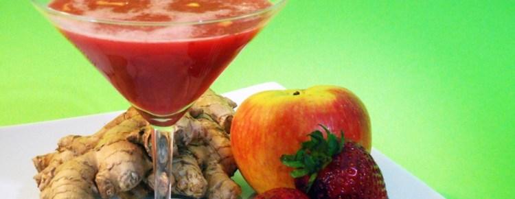 Succo di fragole mela e zenzero