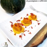 Cubetti di zucca su salsa di parmigiano e zafferano