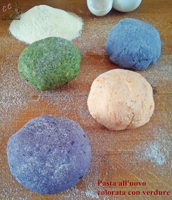 pasta all'uovo colorata con verdure